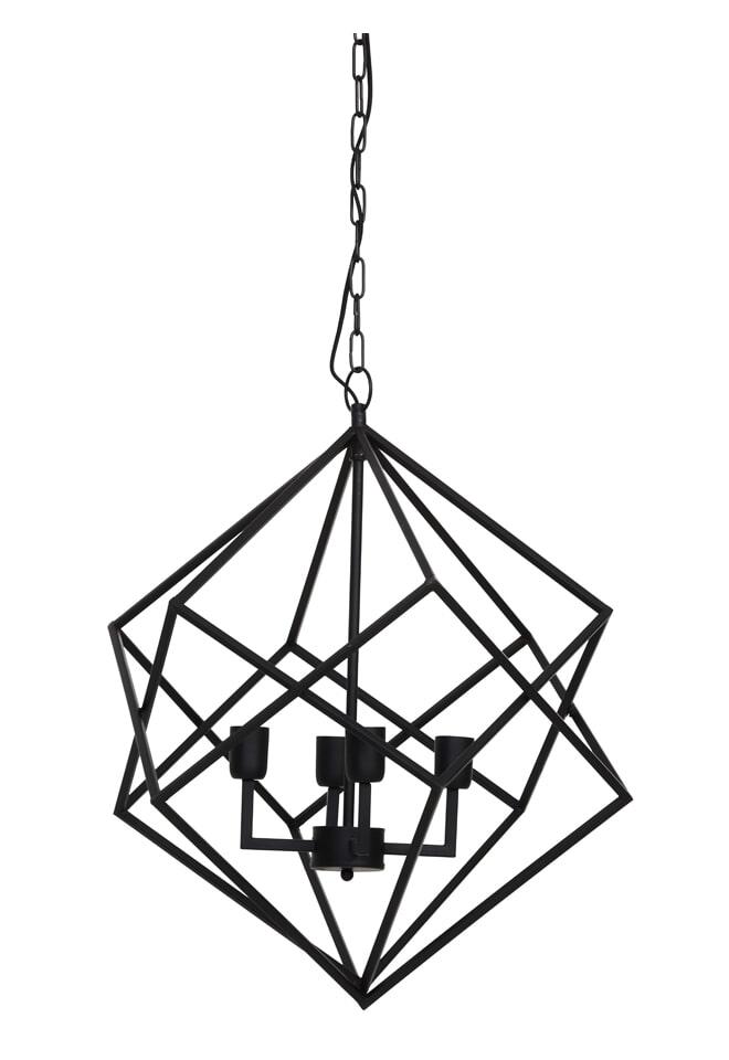 Light & Living Hanglamp 'Drizella' 4-Lamps, mat zwart