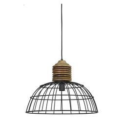 Light & Living Hanglamp 'Gabrielle' 51.5cm, industrieel grijs kop hout