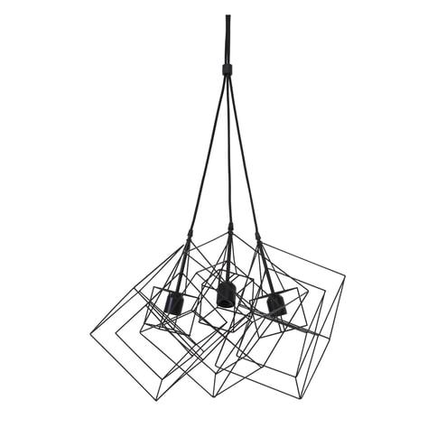Light & Living Hanglamp 'Kubinka' 3-Lamps, mat zwart
