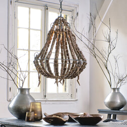 Light & Living Hanglamp 'Lola' kralen, hout naturel