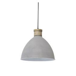 Light & Living Hanglamp 'Milou' 32cm, cement-wit met houten kop