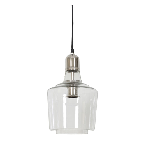 Light & Living Hanglamp 'Sage' 23cm, glas nikkel