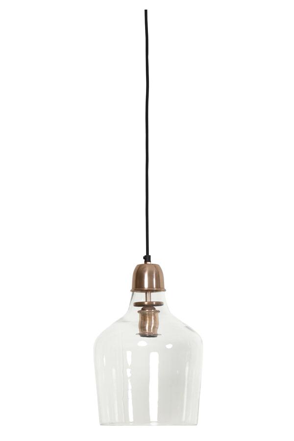 Light & Living Hanglamp 'Sage' Ø23x37 cm, glas koper