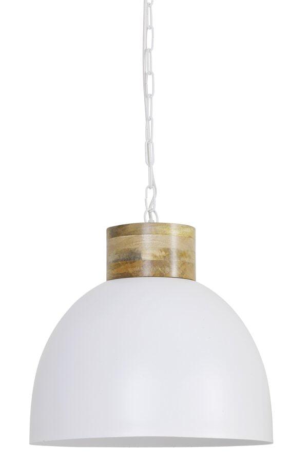 Light & Living Hanglamp 'Samana' 40cm, hout kop mat wit-wit