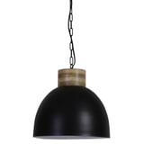 Light & Living Hanglamp 'Samana' 40cm, hout kop mat zwart-wit