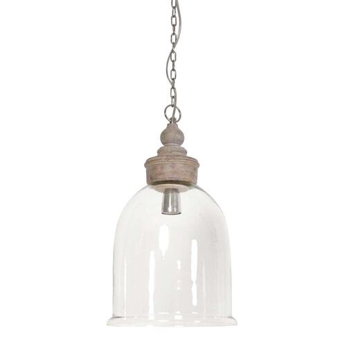 Light & Living Hanglamp 'Senna' Ø28x49,5 cm E14, glas met hout pendel