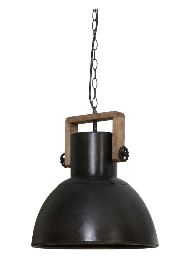 Light & Living Hanglamp 'Shelly' 40cm, hout weather barn-zwart zink
