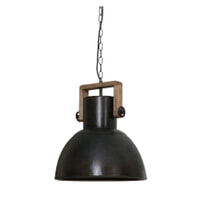 Light & Living Hanglamp 'Shelly' 40cm, hout weather barn-zwart zink