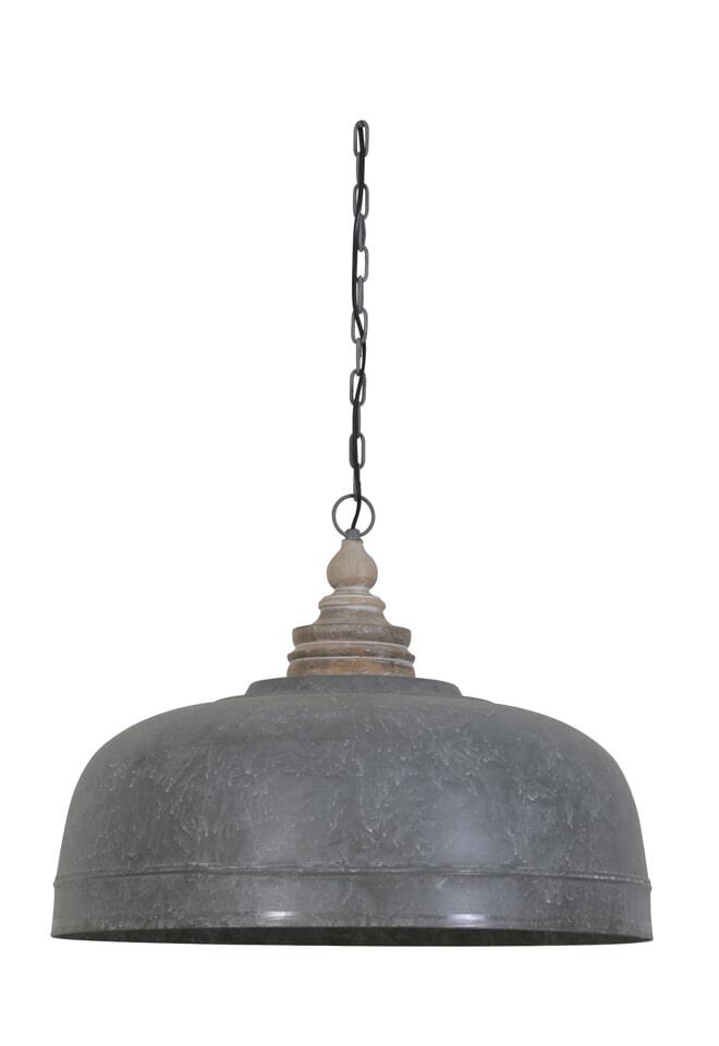 Light Living Hanglamp 'Vaya' 58cm, antiek grijs met houten kop