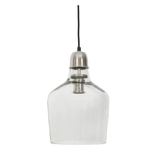 Hanglamp 'Sage' Ø23x37 cm glas nikkel satijn
