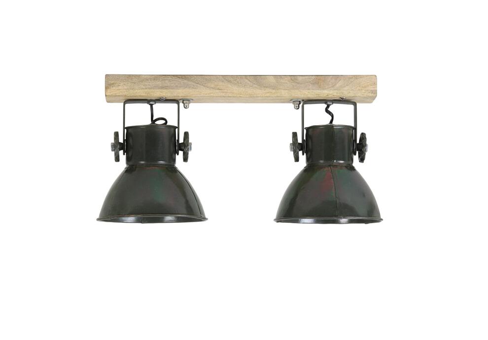 Light & Living Plafondspotjes 'Elay' 2-Lamps, hout-leger groen
