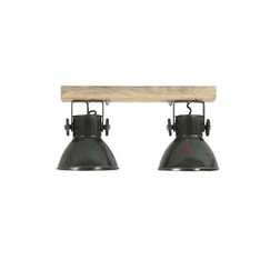 Light & Living Plafondspotjes 'Elay' 2-Lamps, hout-leger groen
