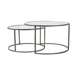 Light & Living Salontafel 'Duarte' Set van 2 stuks, glas-vintage tin