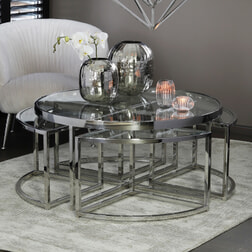 Light & Living Salontafel 'Norlina' Set van 5 stuks, glas nikkel