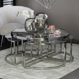 Light & Living Salontafel 'Norlina' Set van 5 stuks, glas nikkel