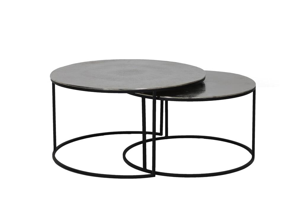 Light Living Salontafel 'Thizas' Set van 2 stuks, ruw nikkel mat zwart