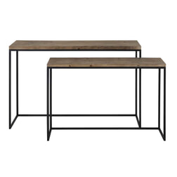 Light & Living Sidetable 'Camasca' set van 2 stuks, metaal zwart+hout