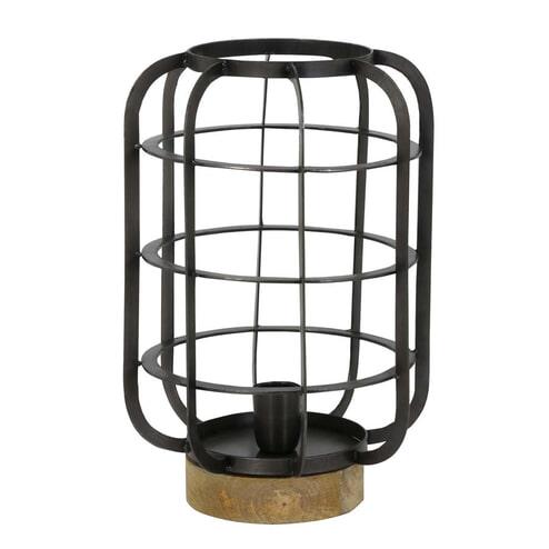 Light & Living Tafellamp 'Suze', draad lood antiek-hout naturel