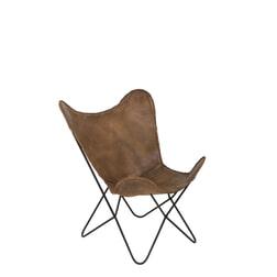 Light & Living Vlinderstoel 'Butterfly', leer bruin