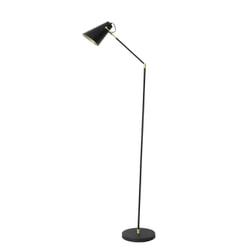 Light & Living Vloerlamp 'Borre', zwart+mat goud /glans wit