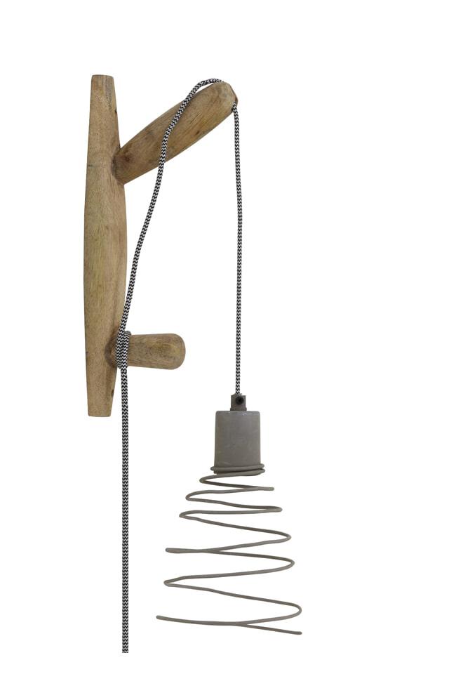 Light & Living Wandlamp 'Staden', hout naturel+cement