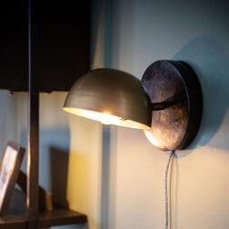 By-Boo Wandlamp 'Lisa', kleur Zwart/Brass
