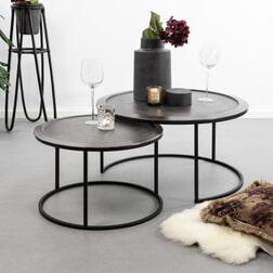 Light & Living Salontafel 'Talca' Set van 2 stuks, lood antiek deep edge