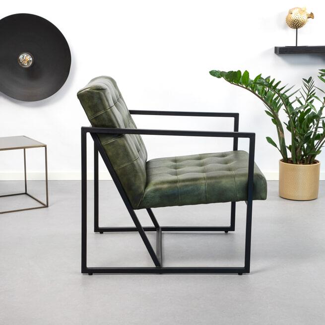 Light & Living Fauteuil 'Itiso' Leder, kleur groen