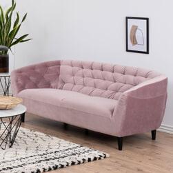 Bendt Bank 'Loes' 3-zits, Velvet, kleur roze