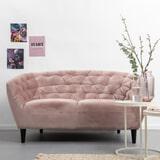Bank 'Loes' 2-zits, Velvet, kleur roze