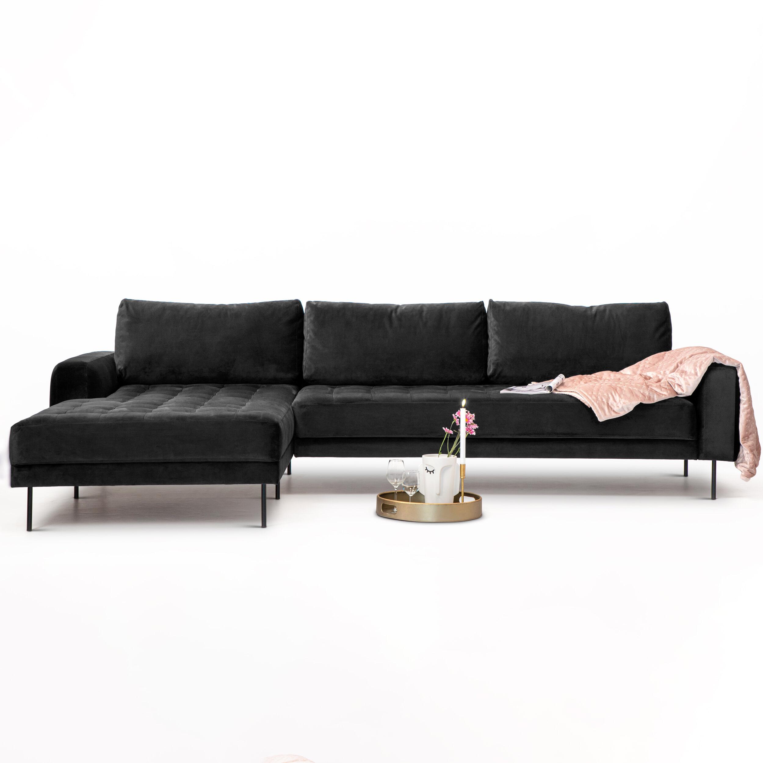 Sohome Loungebank 'Kimberley' Velvet-Antraciet-Links