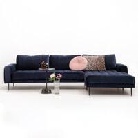 Sohome Loungebank 'Kimberley' Velvet-Donkerblauw-Rechts