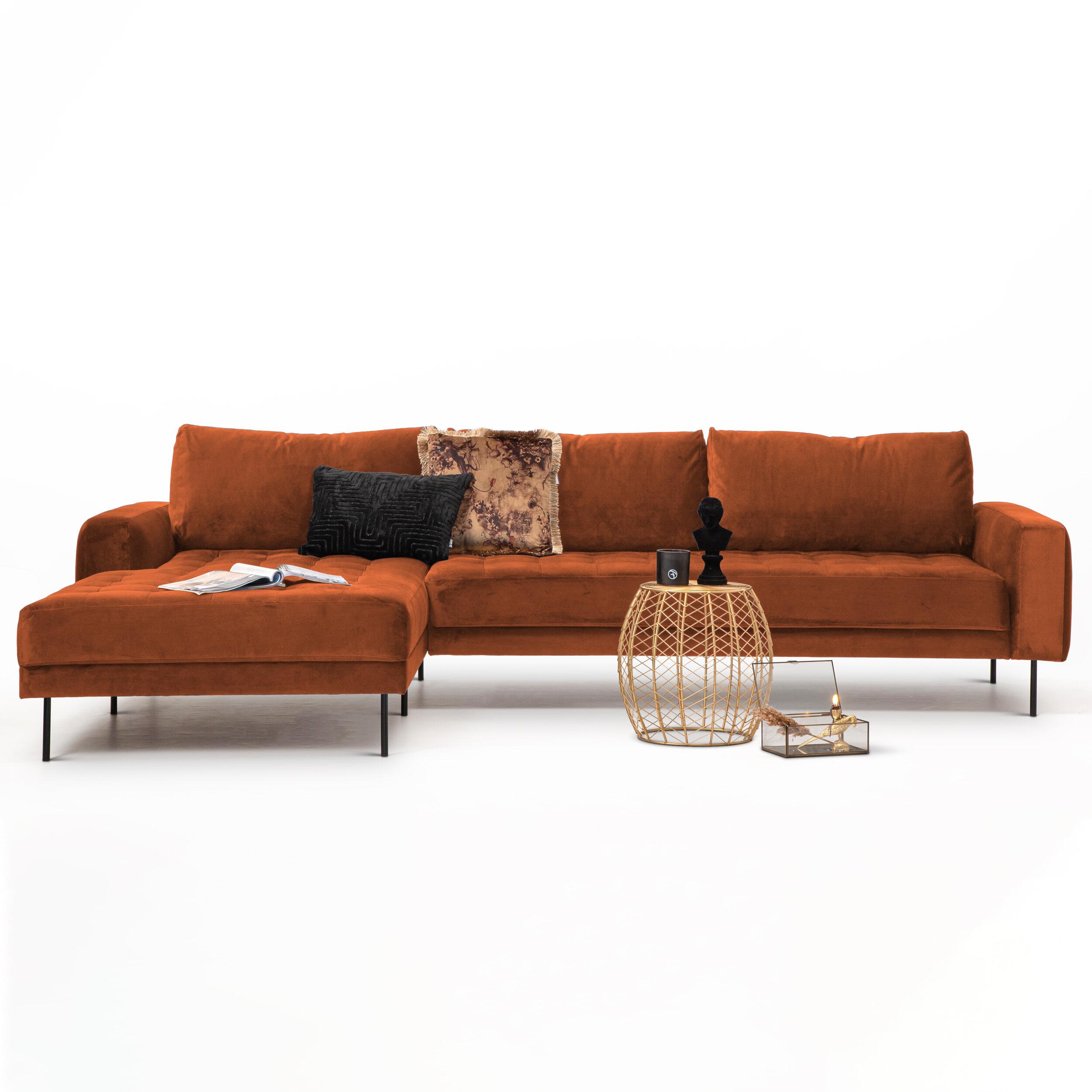 SoHome Loungebank 'Kimberley' Velvet-Koper-Links