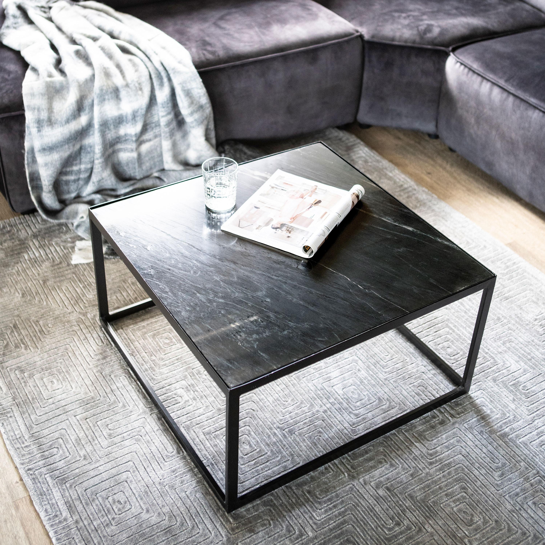 Eleonora Vierkante Salontafel 'Marble' Zwart Marmer, 70 x 70cm