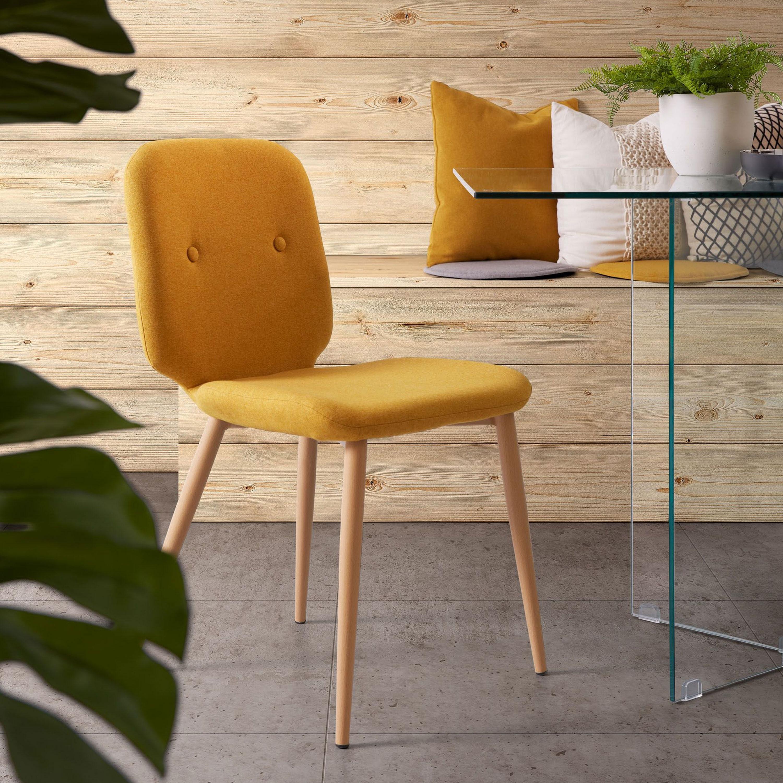 Op SlaapkamerComfort: Alles voor slapen is alles over meubelen te vinden: waaronder meubelpartner en specifiek Kave Home Eetkamerstoel Meet, kleur mosterdgeel (Kave-Home-Eetkamerstoel-Meet-kleur-mosterdgeel25431)