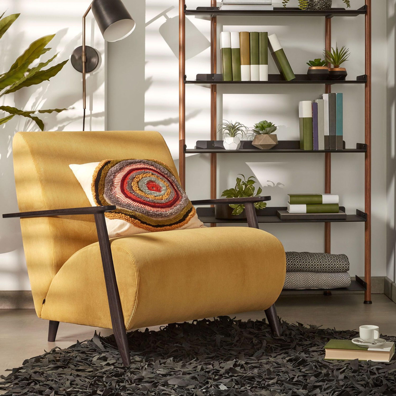 Kave Home Fauteuil 'Meghan' Rib, kleur Mostergeel