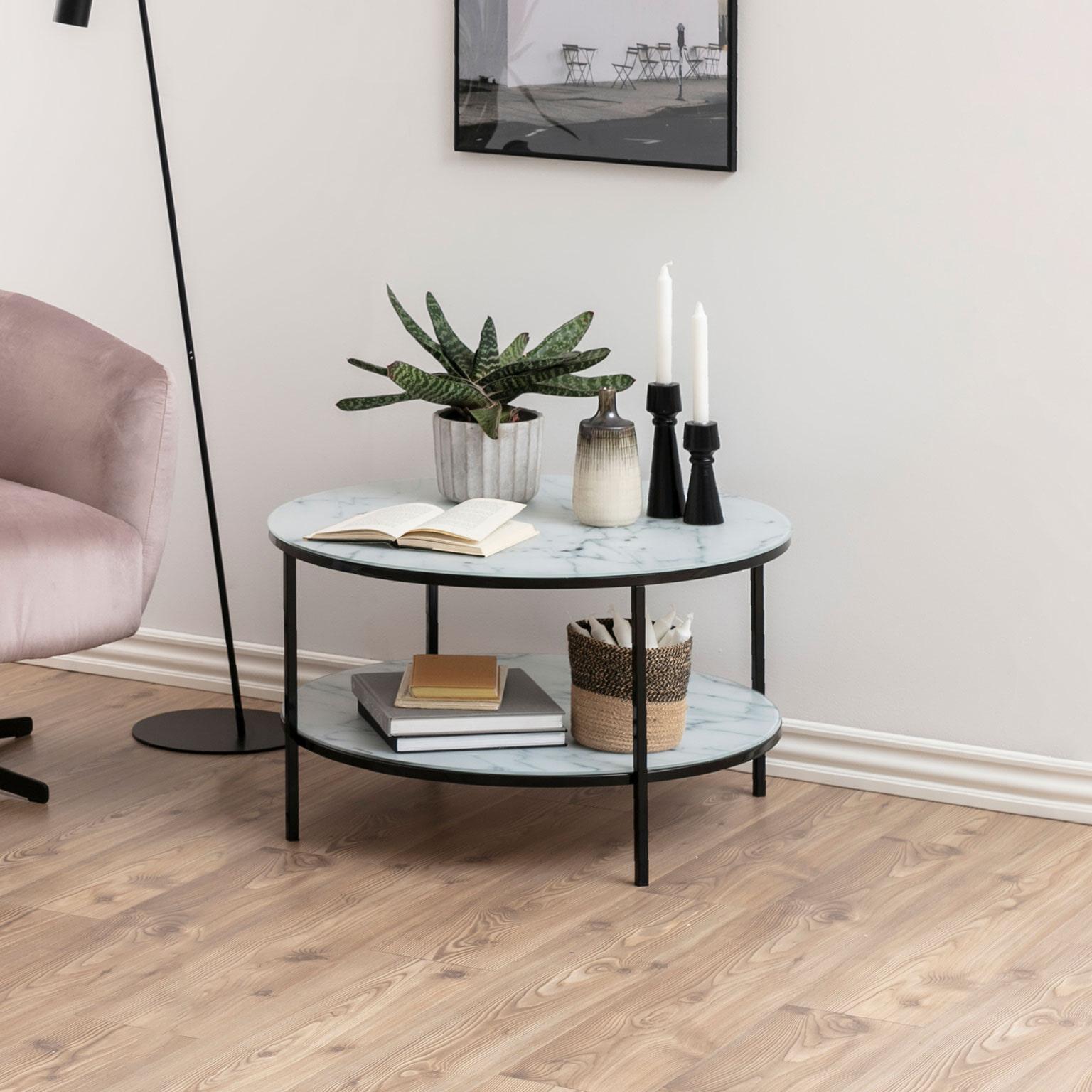 Witte Ronde Salon Tafel.Bendt Ronde Salontafel Cay Marmer 80cm Kleur Zwart Wit