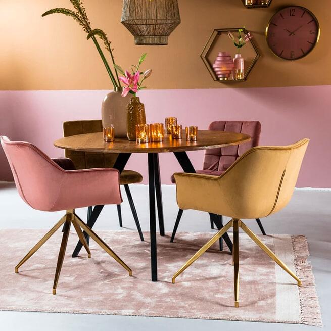Light & Living Ronde Eettafel 'Mimoso' Acaciahout / Zwart