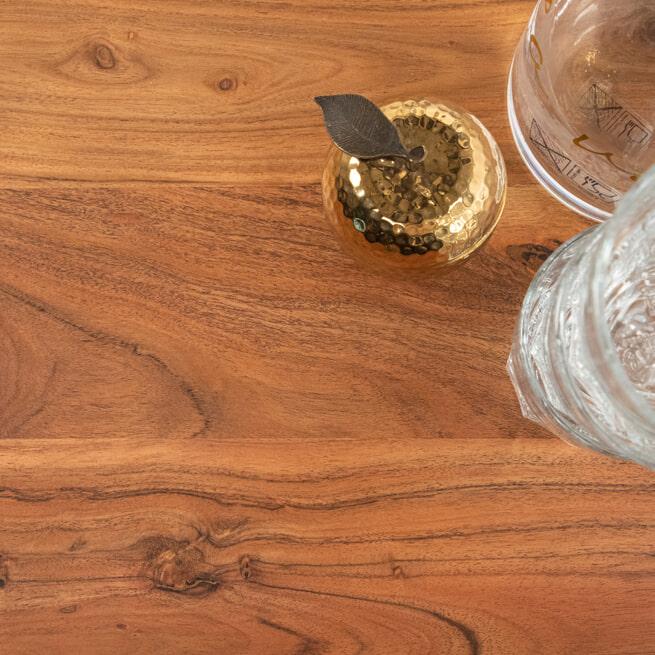 Light & Living Ronde Eettafel 'Mimoso' Acaciahout / Messing