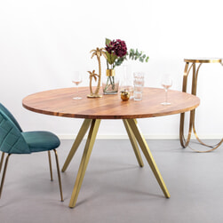 Light & Living Ronde Eettafel 'Mimoso' Acaciahout / Messing