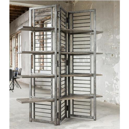 Mioni Industriële Room Divider 'Ruff Solid' met 4 planken