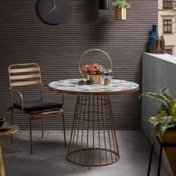 Kave Home Ronde Tafel 'Mosaic' 90cm, kleur Meerkleurig