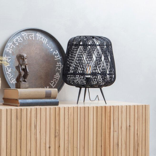 WOOOD Tafellamp 'Moza' Bamboe, kleur Zwart