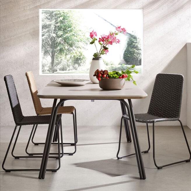 Kave Home Eettafel 'Newport' 180 x 100cm, kleur Lichtgrijs
