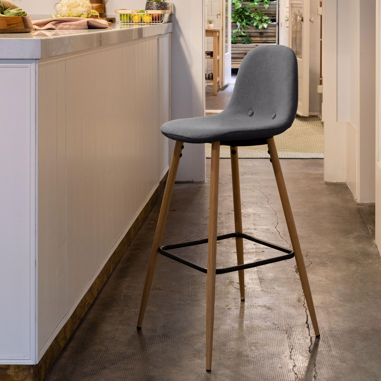 Kave Home Barkruk 'Nolite' (zithoogte 75cm), kleur donkergrijs
