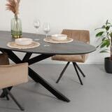 LivingFurn Ovale Eettafel 'Oslo' Acaciahout en staal, kleur Zwart, 240 x 110cm