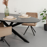 Ovale Eettafel 'Oslo' Acaciahout en staal, kleur Zwart, 180 x 90cm