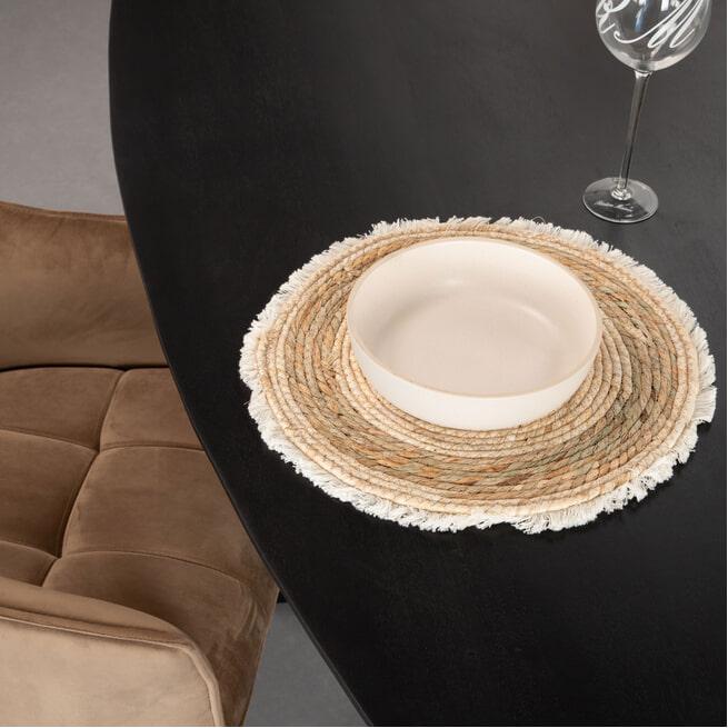 LivingFurn Ovale Eettafel 'Oslo' Acaciahout en staal, kleur Zwart