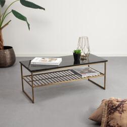 Salontafel 'Rectangular' 90 x 40cm, kleur goud met zwart marmer