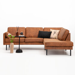 Sohome Hoekbank 'Zeno'-Cognac-Lounge rechts